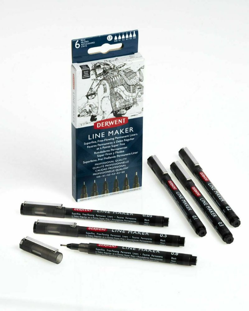 Derwent Line Maker Fine Line Drawing Pens Black Ink Set of 6